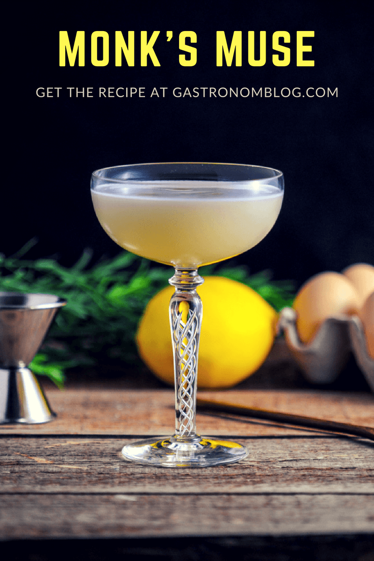 Monk's Muse - A Gin and Chartreuse Cocktail - gin, green chartreuse, vermouth, lemon juice, honey simple syrup, pear nectar, honey chamomile bitters, egg white. This easy egg white cocktail recipe is a must try from Gastronomblog! #cocktail #eggs #gin #alcohol #gastronomblog