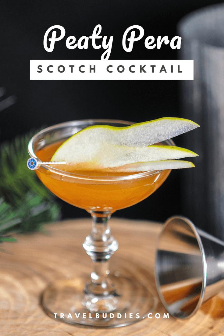 The Peaty Pera Scotch Whisky Cocktail - Angostura bitters, Amaro Lucano, Scotch whisky, pear nectar, simple syrup, lemon juice from Gastronomblog. This pear cocktail is a great recipe. #cocktail #whiskey #lemon #gastronomblog #smoke