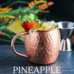 Moscow Mule Copper mug with strawberry and pineapple slice