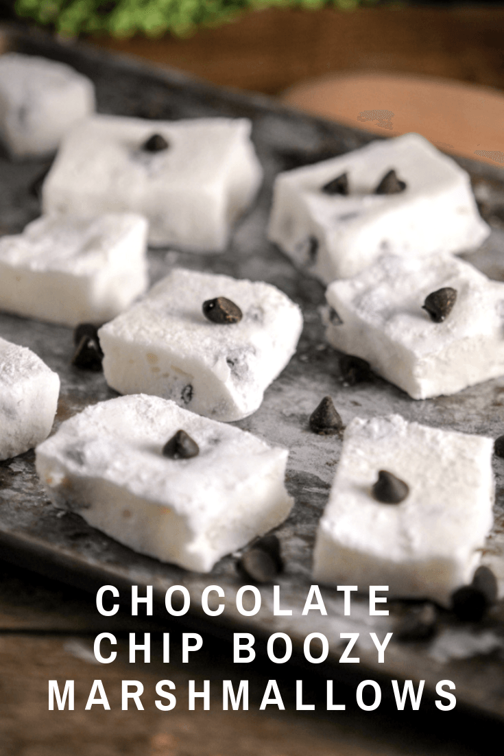Chocolate chip homemade marshmallows with cookie dough vodka and chocolate chips. A great boozy adult dessert homemade chocolate marshmallow recipe from Gastronomblog! #dessert #gastronomblog #chocolate #vodka #salt