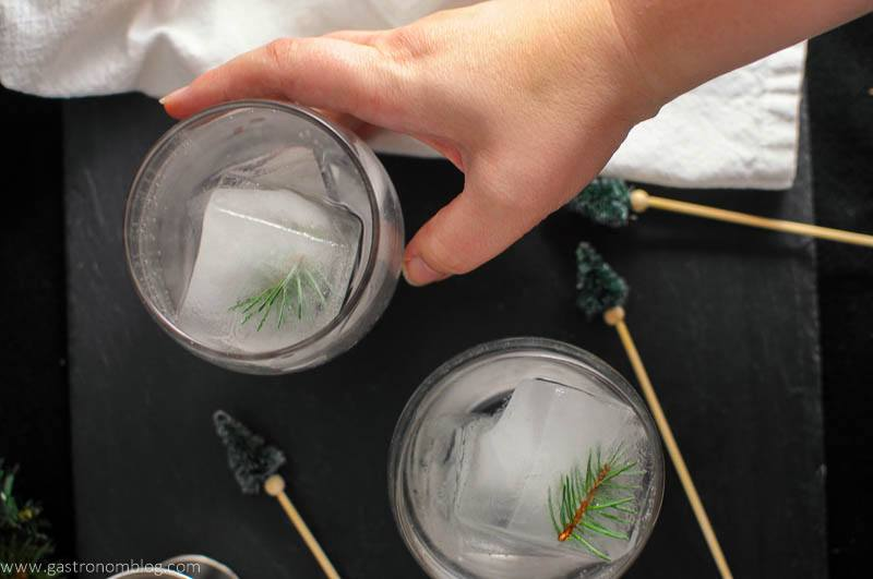 Mountain Pine Gin and Tonic in glasses with pine tree cocktail stirrers and a hand holding a glass