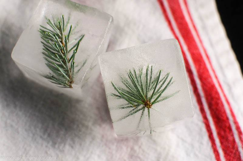 Mountain Pine infused ice cubes on red and white napkin