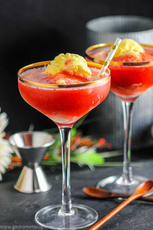 Strawberry Rhubarb Daiquiri Float - A Rum Dessert