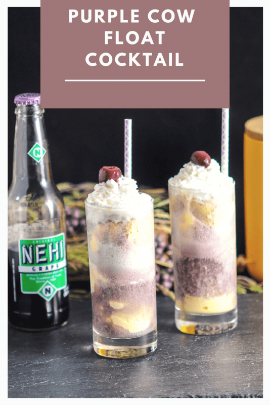 Adult Purple Cow Float with Nehi Grape Soda - vodka and ice cream, whipped cream and a brandied cherry on top