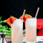 Strawberry cocktails, red/white straws