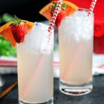 Pink cocktails in highballs