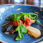 Salad on blue plate