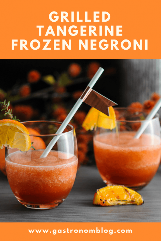 Grilled Tangerine Frozen Negroni - gin, Campari, sweet vermouth, tangerine juice, blended frozen cocktail for Negroni Week