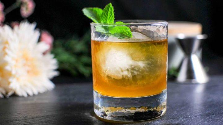 Apricot Honey Bourbon Sour Cocktail