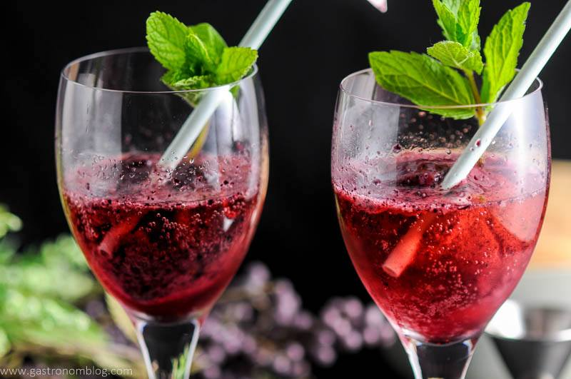Blueberry Mint Sorbet Rose Float in wine glasses with mint and straws