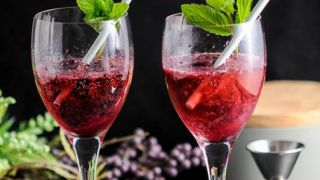Blueberry Mint Sorbet Sparkling Rose Float