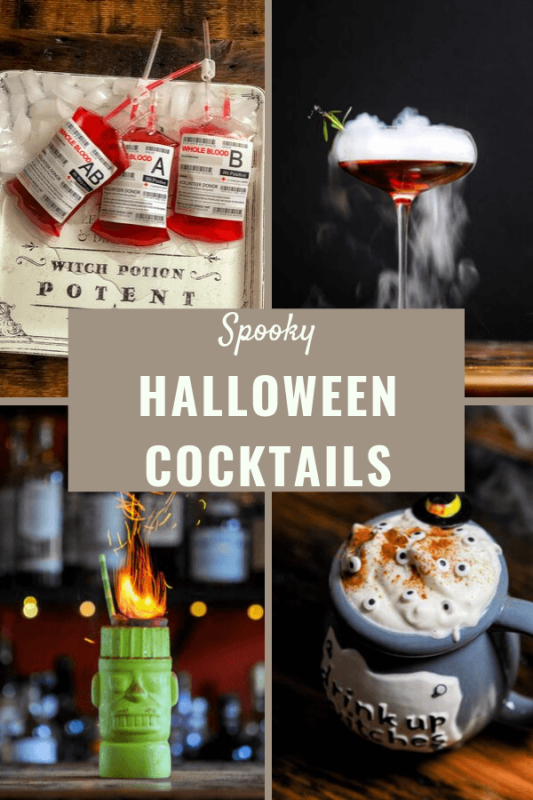 All different Halloween cocktails in a collage