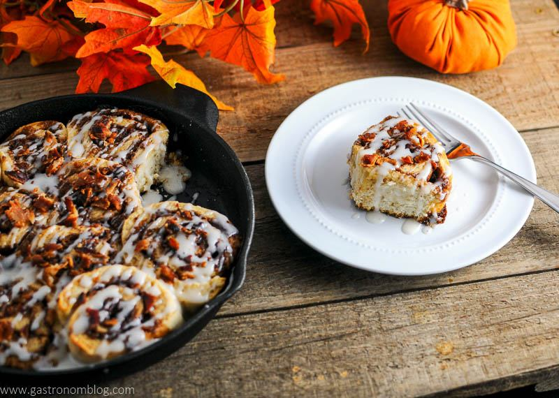 Bourbon Bacon Cinnamon Rolls are a delicious fall treat.