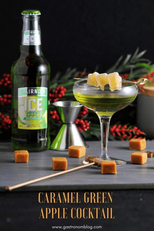 Caramel Green Apple Cocktail - Smirnoff Green Apple, ginger simple syrup, caramel vodka