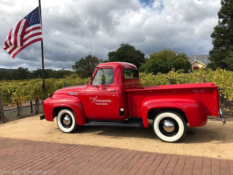 A red Pickup at Benessere Vineyards.