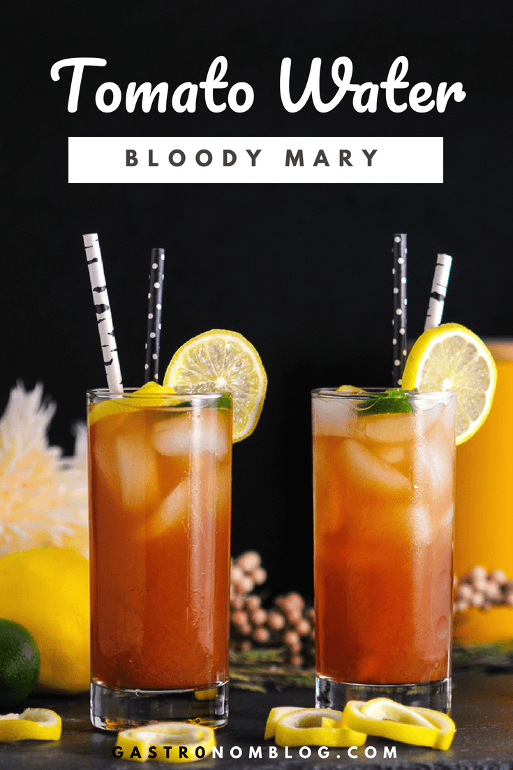 Tomato Water Bloody Mary - vodka, tomato water, worcestershire sauce, lemon juice from Gastronomblog. We will show you how to make this tomato water recipe. #brunch #cocktail #vodka #tomato #gastronomblog