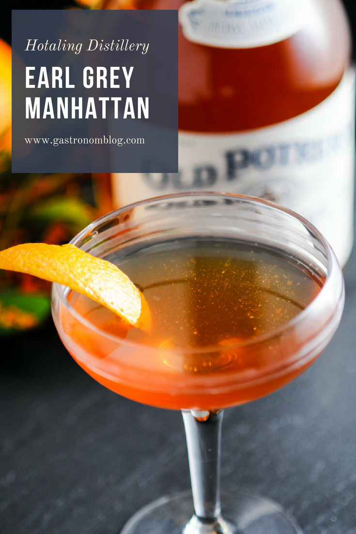 Earl Grey Manhattan with Hotaling Distilling - Angostura bitters, Old Potrero whiskey, sweet vermouth, Earl Grey simple syrup from Gastronomblog. #cocktail #whiskey #Earlgrey #gastronomblog #Manhattan