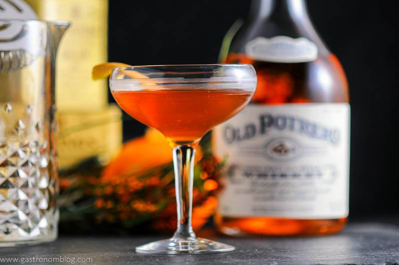 A cocktail coupe filled with an Earl Grey Manhattan made with Anchor Distilling Old Potrero 18th Century Style Whiskey.