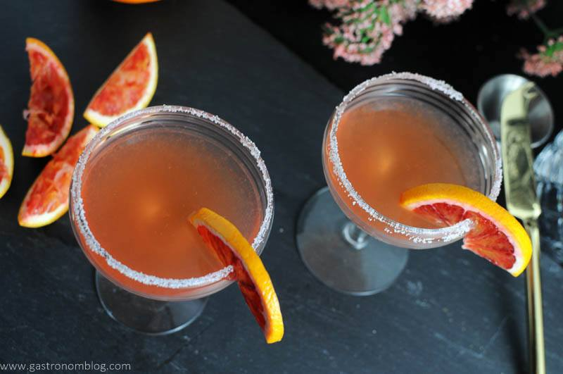 Top shot of a pair of blood orange sidecar cocktails