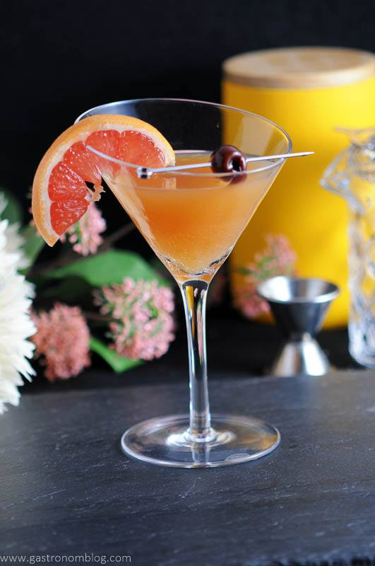 The apple cider sidecar, with brandy, apple cider, cointreau, fresh lemon and bitters.