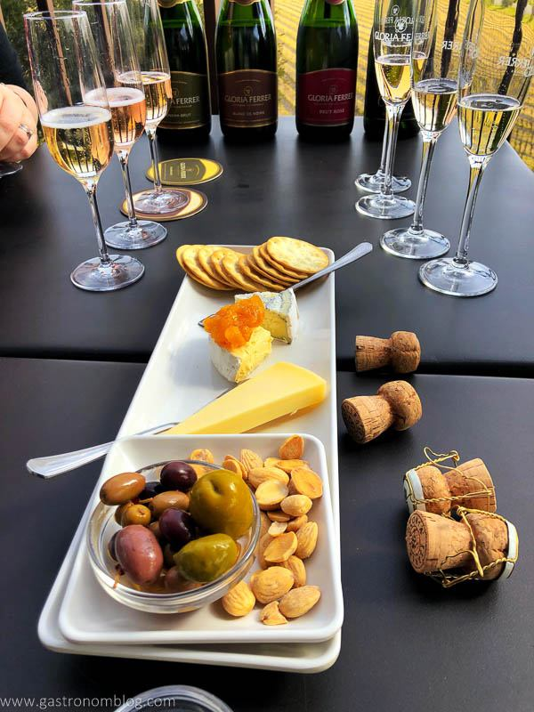Plate with cheeses, nuts and olives. Champagne glasses and bottles in back