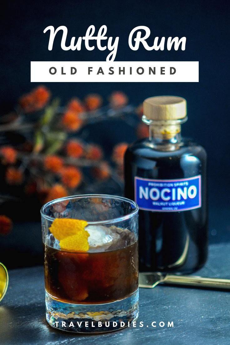 Nutty Rum Old Fashioned - orange peel, black walnut Liquor (nocino) from Prohibition Spirits, orange bitters, dark rum, brown sugar. #cocktail #rum #orange #gastronomblog #walnuts