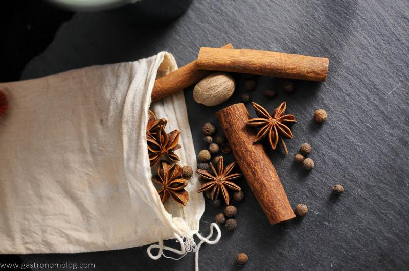 Star Anise, Cinnamon sticks, nutmeg, allspice berries and other spices make up a bag of mulling spices.