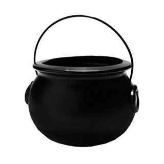 "7 1/4"" Black Plastic Cauldron"