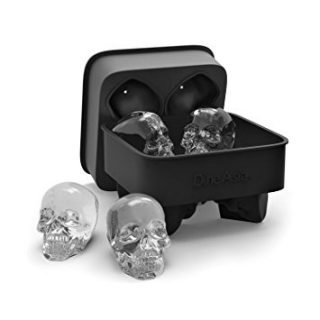 DineAsia 3D Skull Flexible Silicone Ice Cube Mold Tray, Makes Four Giant Skulls, Large Round Ice Cube Maker, Black - Pack of 1