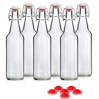 Swing Top Glass Bottles - Flip Top Bottles For Kombucha, Kefir, Beer - Clear Color - 16oz Size - Set of 6 Brewing Bottles - Leak Proof With Easy Caps - Bonus Gaskets - Fast Clean Design