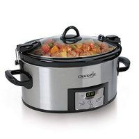 Crock-Pot 6-Quart Programmable Cook & Carry Slow Cooker with Digital Timer, Stainless Steel, SCCPVL610-S