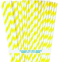 Striped Paper Straws - Yellow White - 7.75 Inches - Pack of 100 - Outside the Box Papers Brand