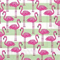"Boston International C738800 Ihr Rosanne Beck Collections Cocktail Beverage Paper Napkins, 5"" x 5"", Flamingo Stripe"