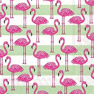 "Boston International C738800 Ihr Rosanne Beck Collections Cocktail Beverage Paper Napkins, 5"" x 5"", Flamingo Stripe"