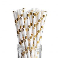 Geeklife Metallic Gold Paper Straws,Gold Foil Dot Drinking Straws for Weddings,100% Biodegradable,Pack of 100