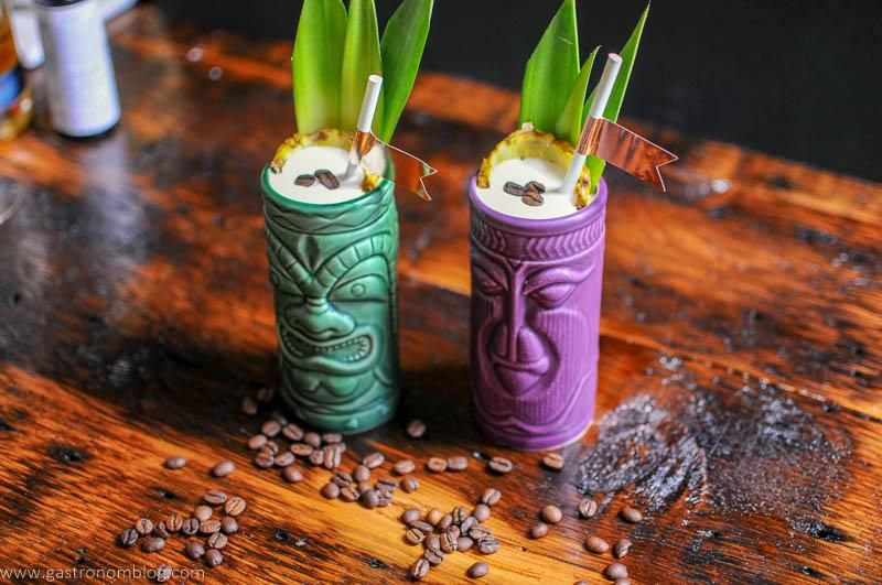 Coffee, Coffee Bean, Coffee Liqueur, Banana Liqueur, pineapple juice, coconut cream, mezcal, cocktail, Tiki Cocktail, Tropical Flavors, tiki mug