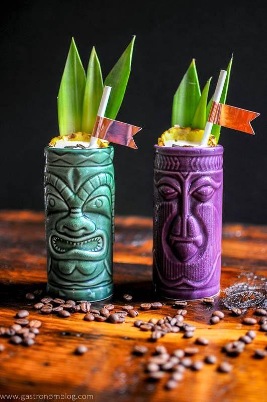 Coffee, Coffee Bean, Coffee Liqueur, Banana Liqueur, pineapple juice, coconut cream, mezcal, cocktail, Tiki Cocktail, Tropical Flavors, tiki mug