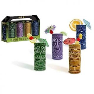 Accoutrements 4 Tiki Tumblers Ceramic Hawaiian Luau Party Mugs Glasses-Party Pack