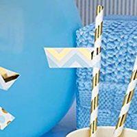 Neviti Patternworks Modern Design Paper Straw Flags (30 ct) (Blue)