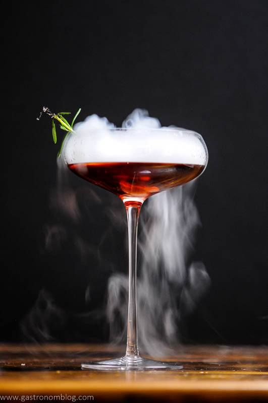 The Vampire Cynar Negroni combines Reposado Dry Gin, Cynar, and strawberry infused Campari to make this cocktail, perfect for a Halloween party, especially when served with a dry ice chip to make a rolling fog from the cocktail!