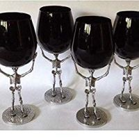 Four (4)-Piece Walking Dead Skelton Hand Blown Black Glass Wine Goblets