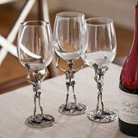 Four (4)-Piece Walking Dead Skelton Hand Blown Glass Wine Goblets