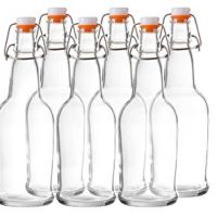 Bellemain Swing Top Grolsch Glass Bottles 16oz - CLEAR - For Brewing Kombucha Kefir Beer (6 Set)