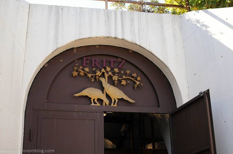 The enterance of the underground caves at Fritz Underground Winery is adorned with a logo showing some of the wild turkeys that are found on the grounds.