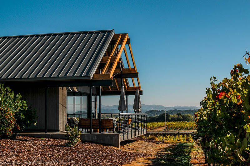 The tasting room has a great outdoor patio for tasting wine over looking the vines of MacRostie Vineyards.