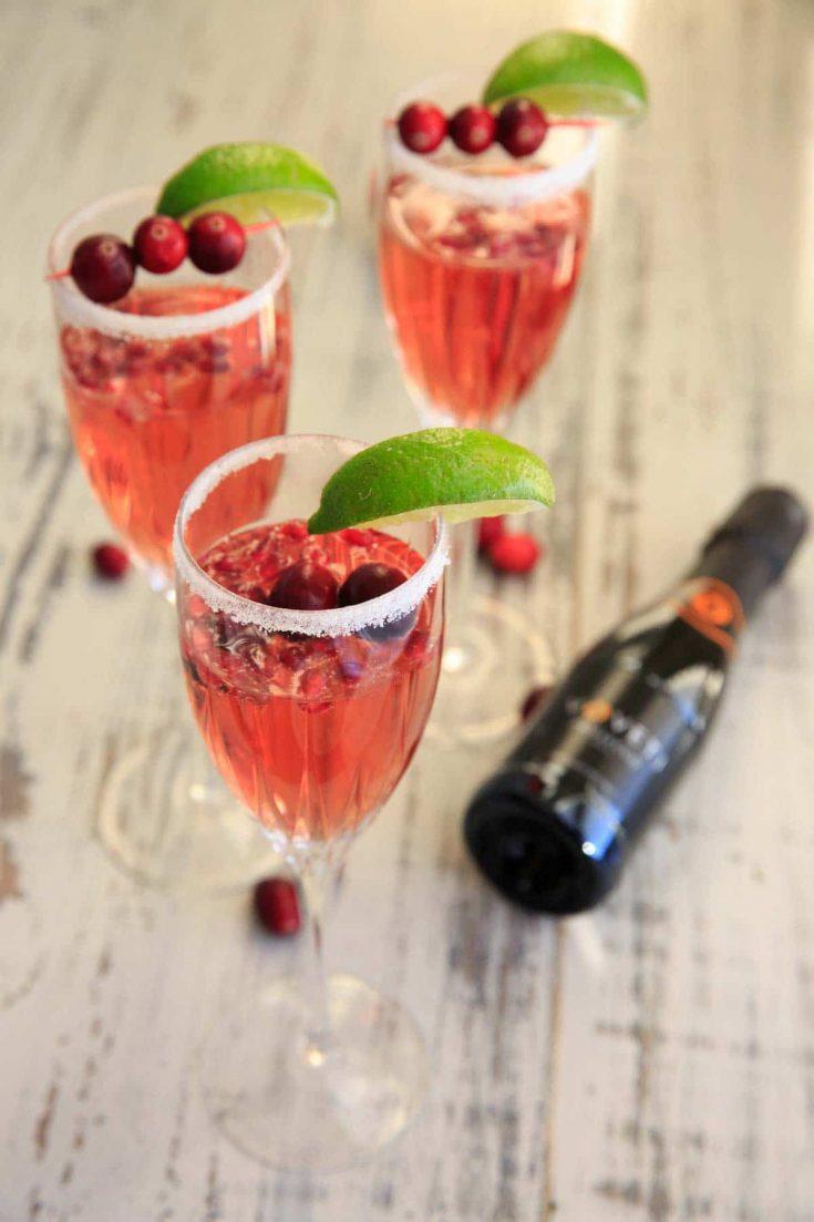 Cranberry Pomegranate Prosecco Cocktail