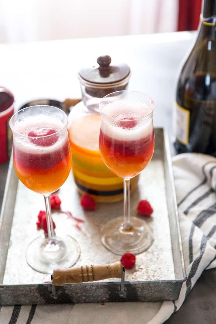 Mango-Raspberry Prosecco Cocktail