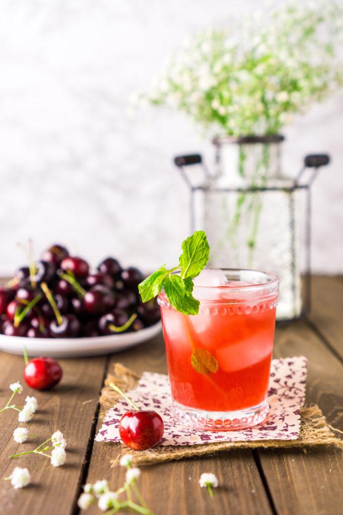 Cherry Bourbon Smash - Burrata and Bubbles