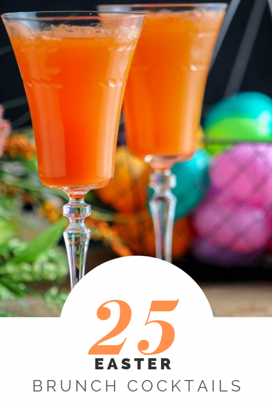 Easter cocktails in tall glasses for Easter Brunch