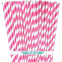 Stripe Paper Straws - Pink White - 7.75 Inches - Pack of 50 - Outside the Box Papers Brand